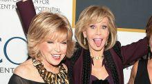 Jane Fonda celebrates 80th birthday in form-fitting pantsuit