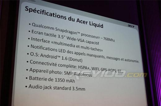 Acer Liquid's Snapdragon processor to be clocked at just 768MHz?