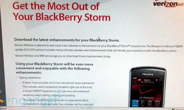 BlackBerry Storm update landing tomorrow, bringing lots of good stuff (update: now with changelog!)