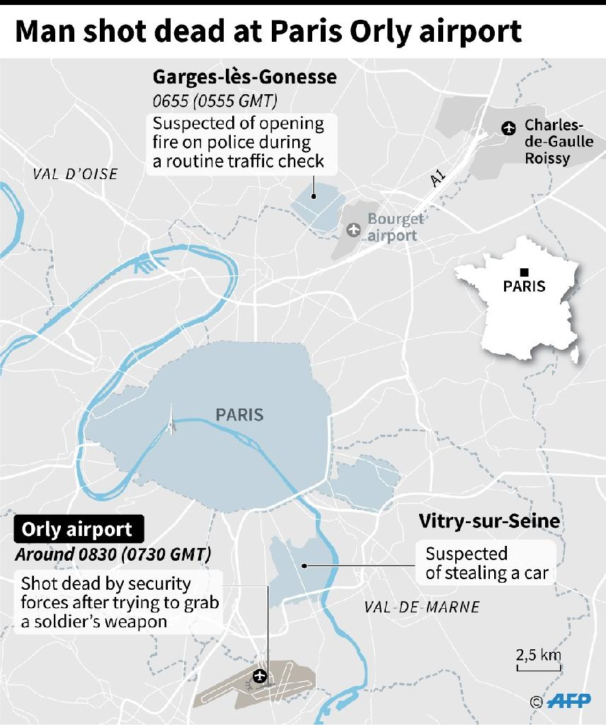 The attack on Paris's Orly airport caused a major security headache, leading to the temporary closure of the capital's second-busiest airport and the cancellation of dozens of flights (AFP Photo/Paz PIZARRO, Aude GENET)