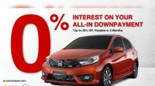 Honda Brio now available at zero-interest installment and via credit card payment