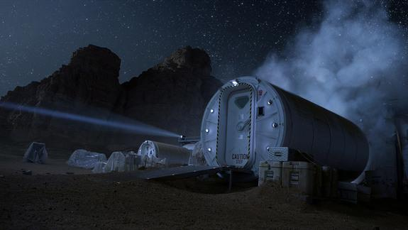 "The habitat portrayed in ""The Martian."""