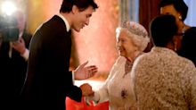 Queen Elizabeth greets Justin Trudeau with a twinkle in her eye