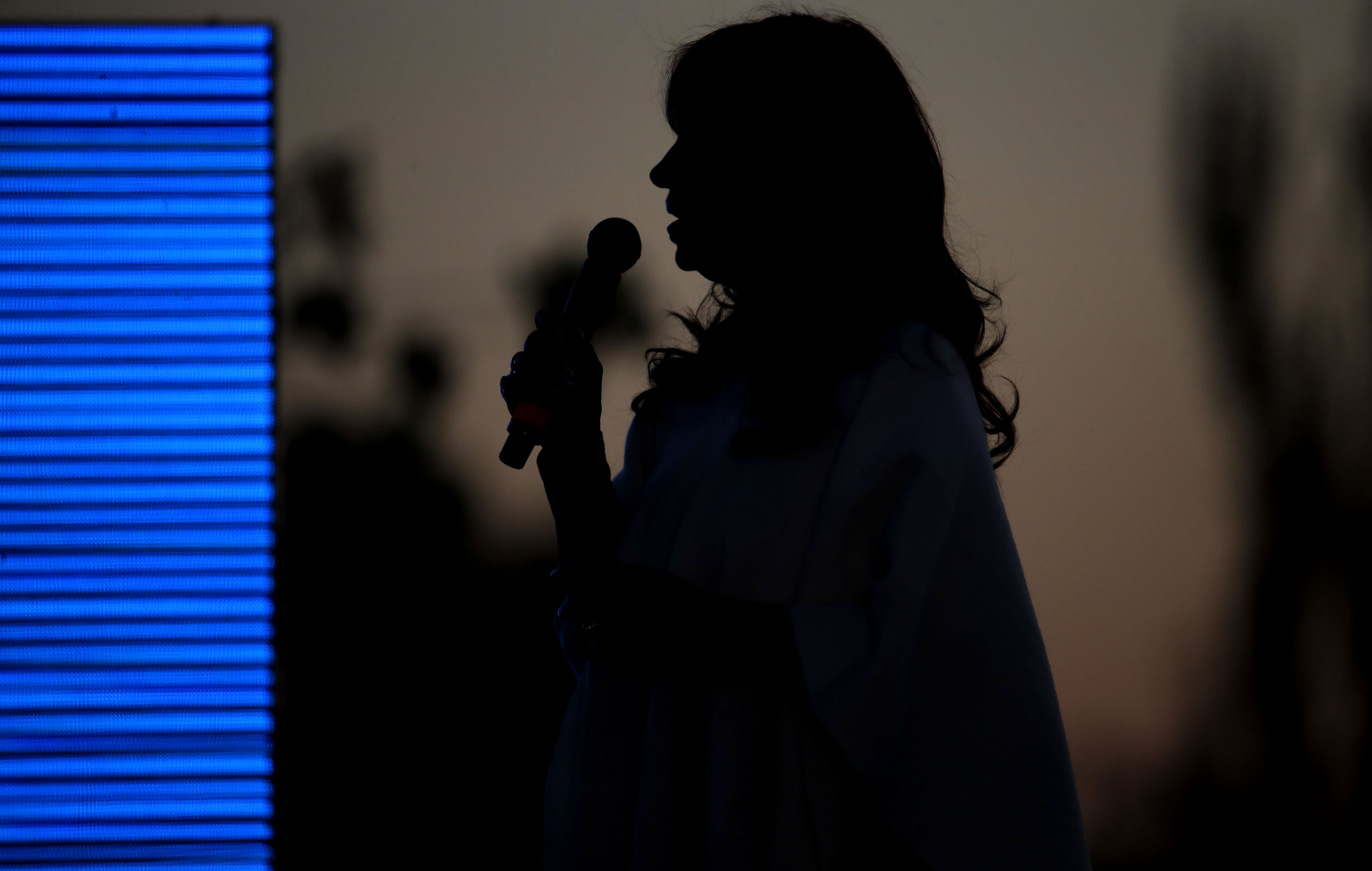 In this Oct. 17, 2019 photo, Cristina Fernandez de Kirchner, Argentina's former president, speaks to supporters during a campaign rally in Santa Rosa, Argentina. 66-year-old Fernández de Kirchner, a senator who succeeded husband Néstor Kirchner as president in 2007 and served two four-year terms, is close to a return to power - this time as a vice presidential candidate - ahead of Oct. 27 elections. (AP Photo/Natacha Pisarenko)