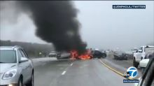 4 injured, 30 cars involved in pileups on California highway