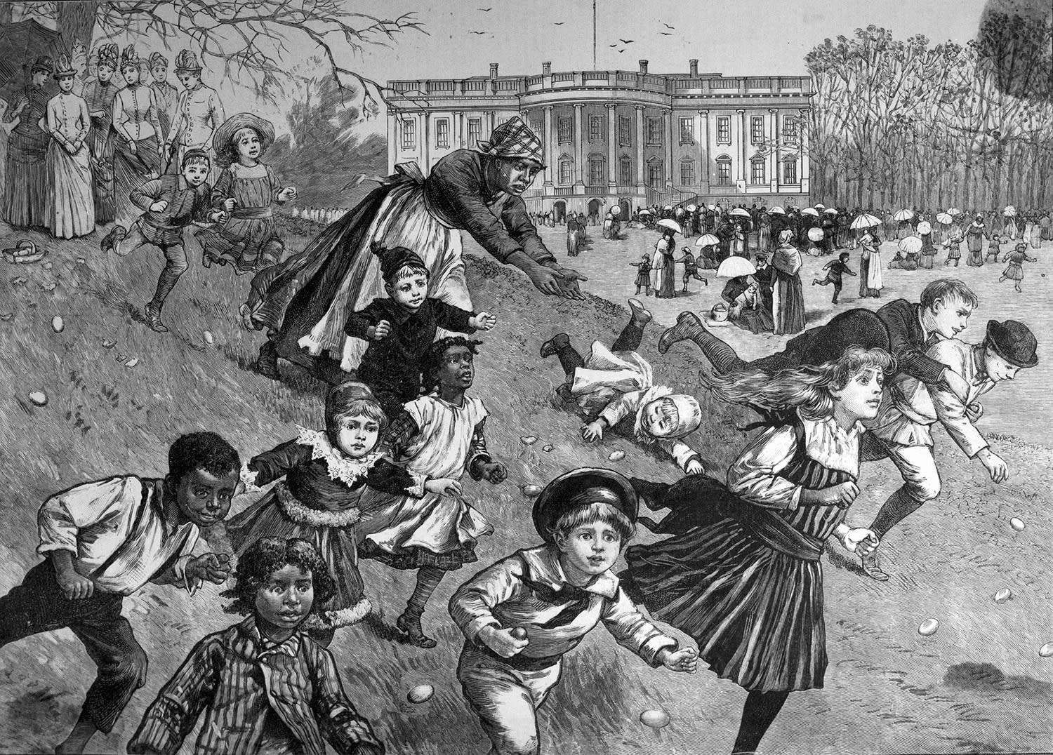 <p>An illustration shows a nanny running after a group of children who are participating in an egg-rolling contest on the grounds of the White House, circa late 19th century. This was part of the Easter celebration in Washington. (Photo: Bettmann/Getty Images) </p>