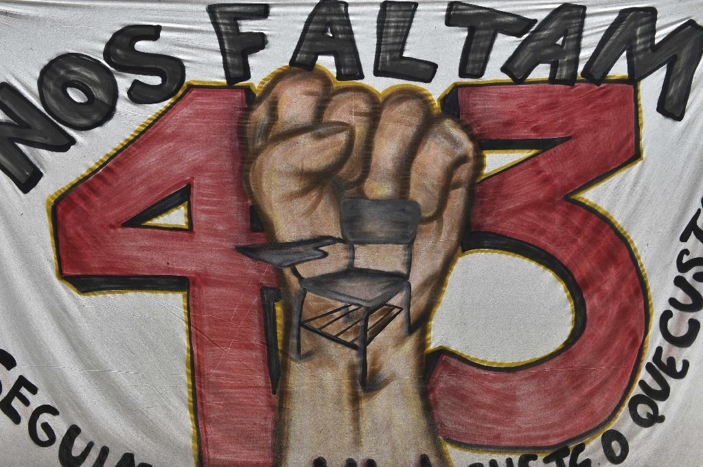 A banner hangs on September 21, 2015 at the rural teachers' training college of Ayotzinapa, Guerrero State, Mexico, where the misssing 43 students studied (AFP Photo/Yuri Cortez)