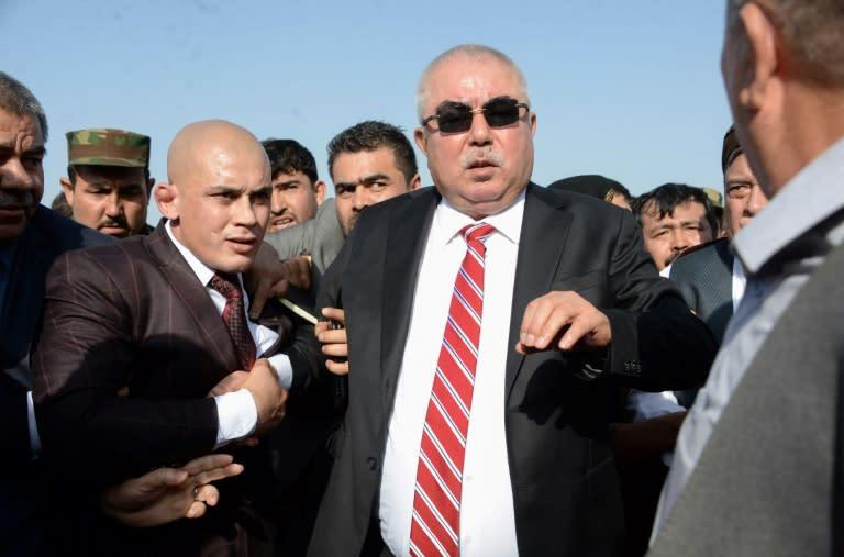 Abdul Rashid Dostum (in sunglasses) was vice president in Ashraf Ghani's 2014 government