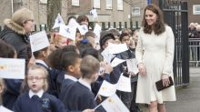 The Duchess of Cambridge steps out in recycled JoJo Maman Bebe coat but people can't help but notice her unusual fingers