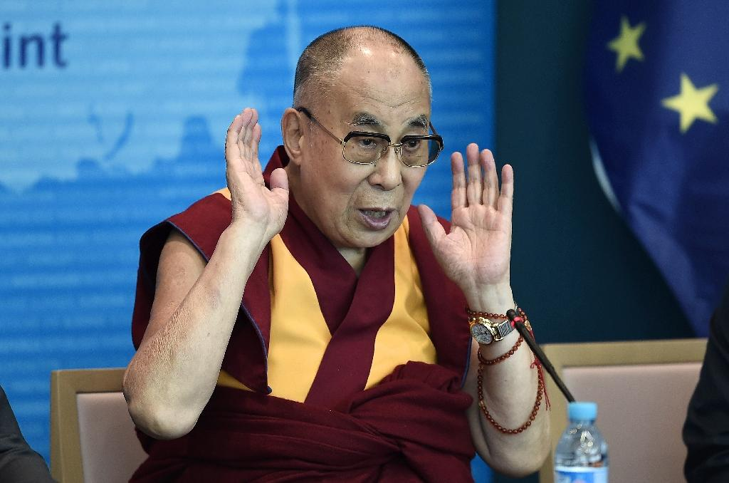 The Dalai Lama delivers a speech at the Council of Europe in Strasbourg, eastern France, on September 15, 2016