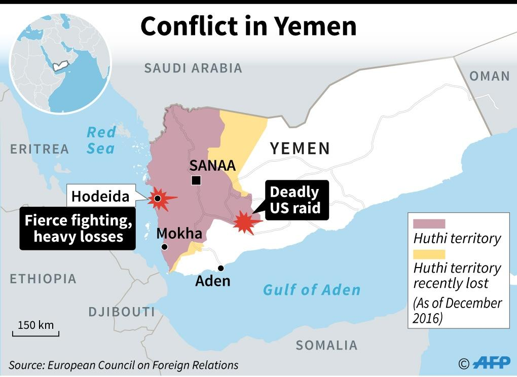 Map of Yemen showing zones of control and locating the latest violence (AFP Photo/AFP )
