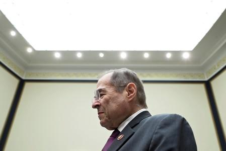 U.S. House Judiciary Committee Chairman Nadler stands in the committee room after hearing testimony on the Mueller Report by former White House counsel Dean on Capitol Hill in Washington
