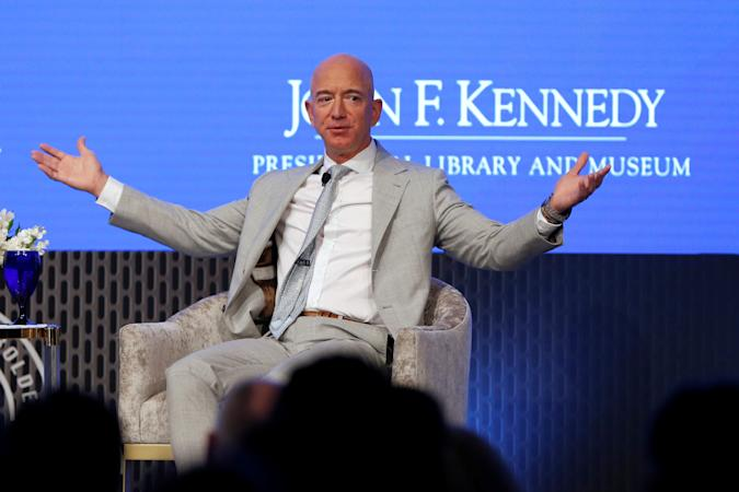 Jeff Bezos, founder of Amazon and Blue Origin speaks  during the JFK Space Summit, celebrating the 50th anniversary of the moon landing, at the John F. Kennedy Library in Boston, Massachusetts, U.S., June 19, 2019.  REUTERS/Katherine Taylor