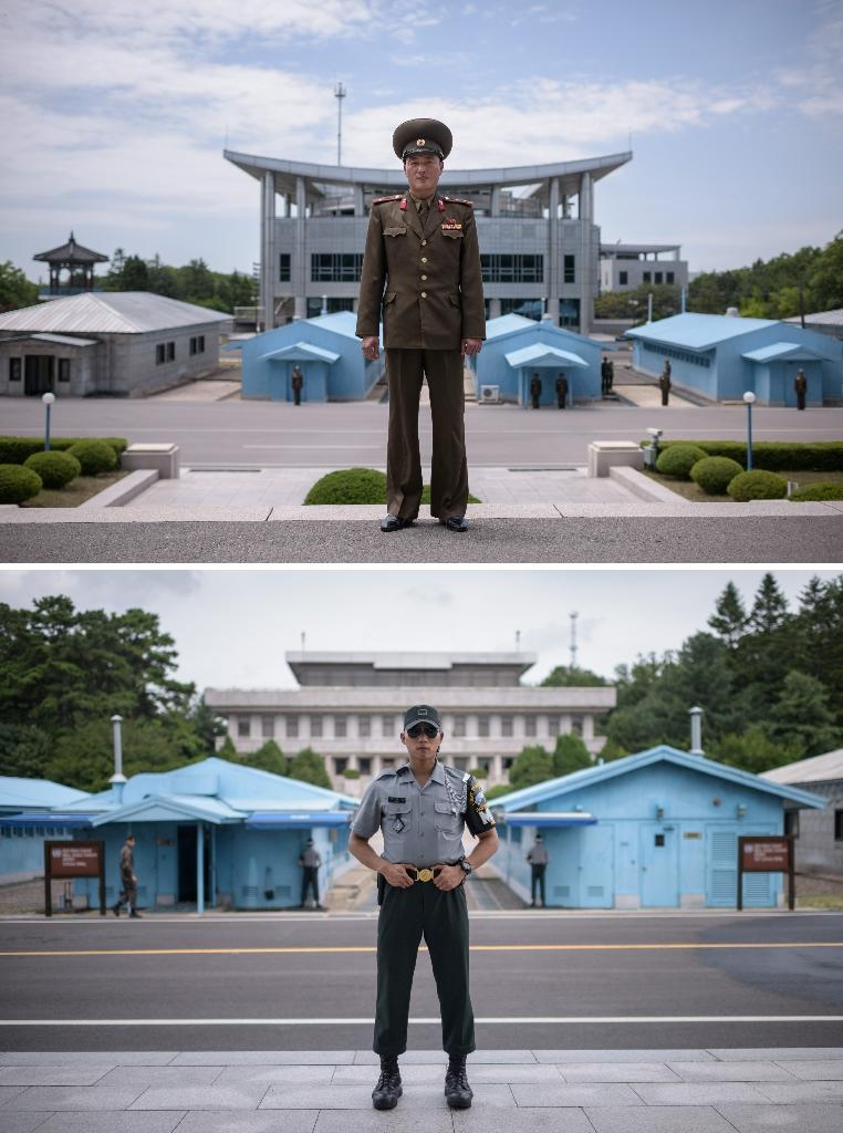 Lieutenant Kim (top) and Corporal Woo (bottom) pose for portraits on either side of the Panmunjom truce village (AFP Photo/Ed JONES)