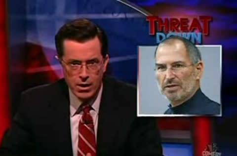 Colbert's top threat of the week: killer iPhones. Solution: buy a Zune.