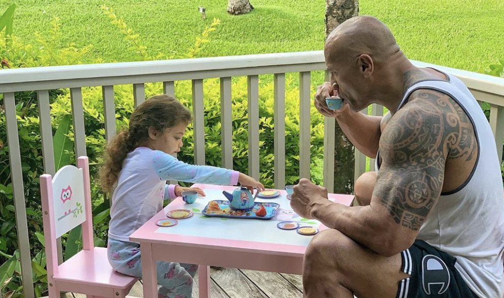 Dwayne Johnson praised for sharing tea party with 3-year-old daughter: 'This is why I love him'