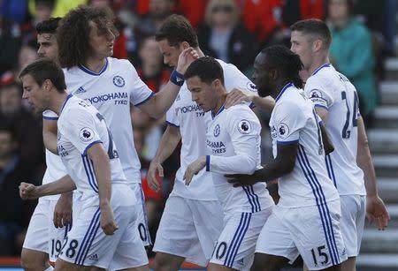 Chelsea's Eden Hazard celebrates scoring their second goal with teammates