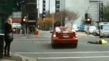 Pedestrian Goes Airborne After Colliding With Car in Melbourne's CBD