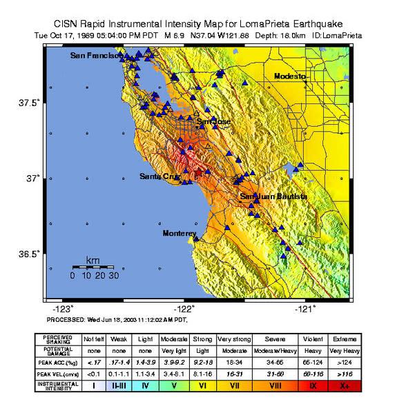 Loma Prieta earthquake shaking map.