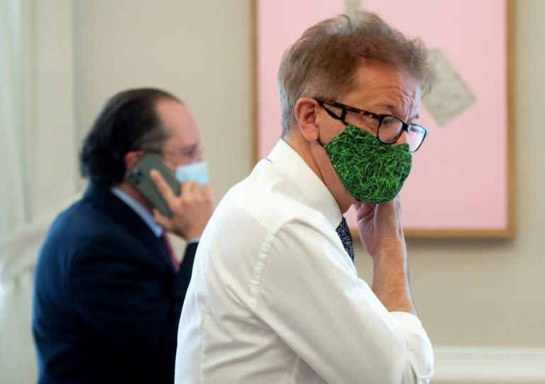 Austria's health minister Rudolf Anschober at a recent meeting in Vienna. (AFP Photo/JOE KLAMAR)
