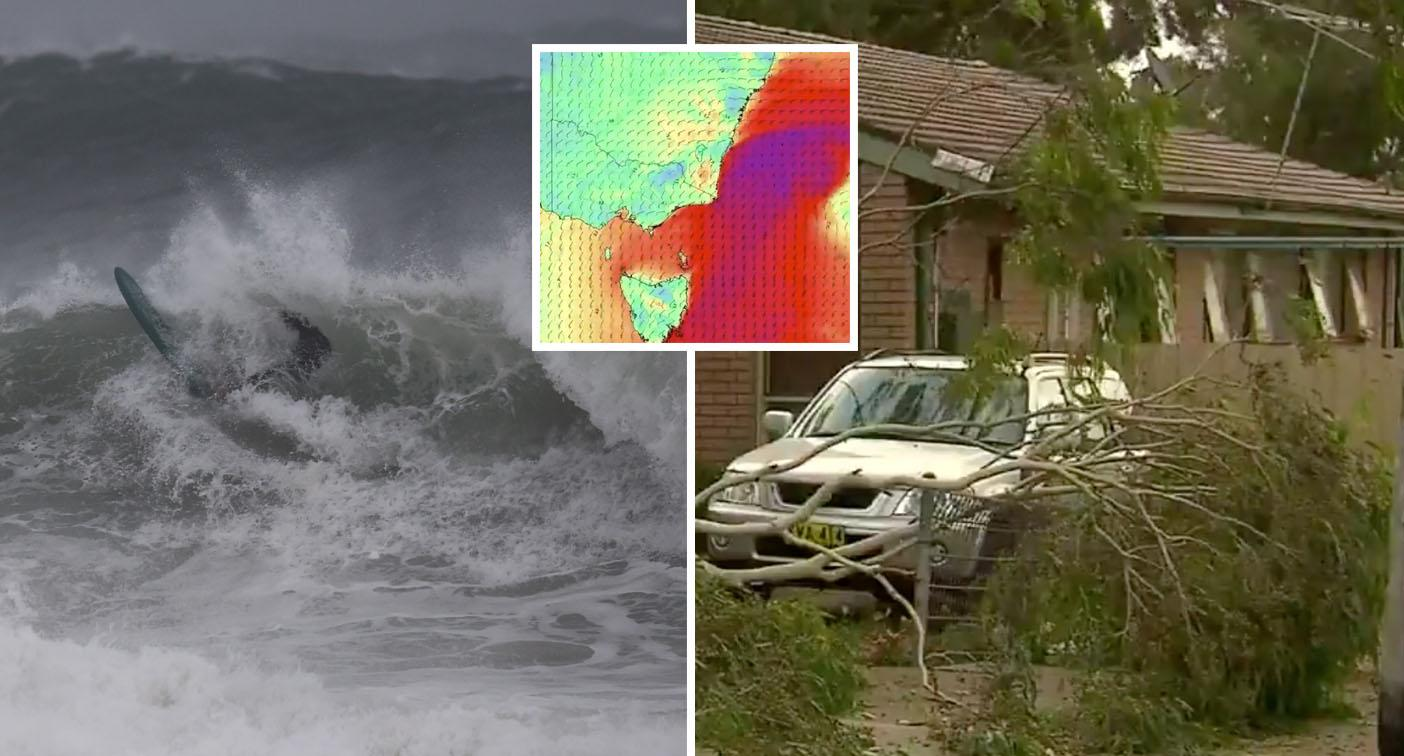Winds 100km/h lash the coast as double cold front packs a punch