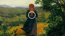 Is woman in 1860 painting carrying an iPhone?