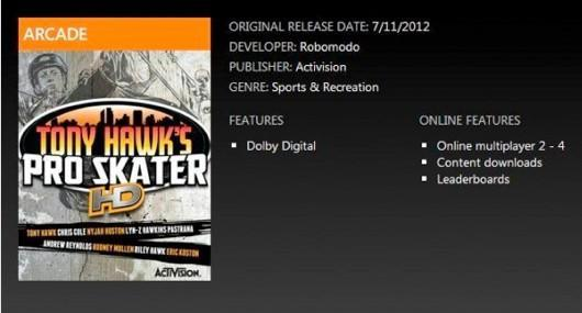 Tony Hawk's Pro Skater HD briefly listed with July 11 launch date
