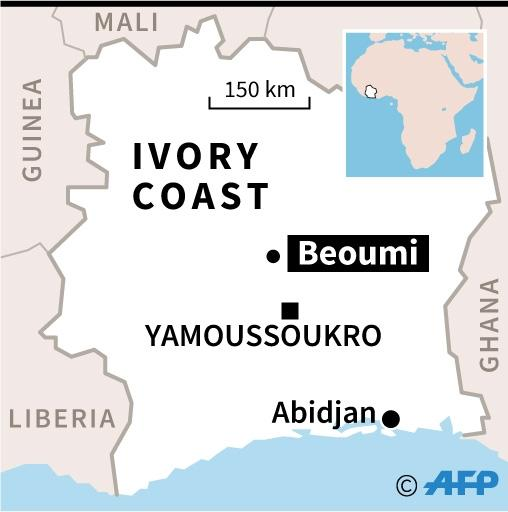 Map locating Beoumi, in Ivory Coast, the site of last week's inter-community violence (AFP Photo/Laurence SAUBADU)