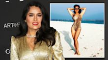 Salma Hayek, 52, cuts a fierce figure in cutout leopard print swimsuit