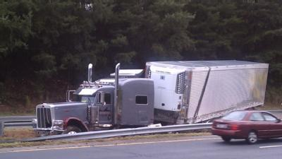 Tractor-Trailer Crash Blocks Business 40 Traffic