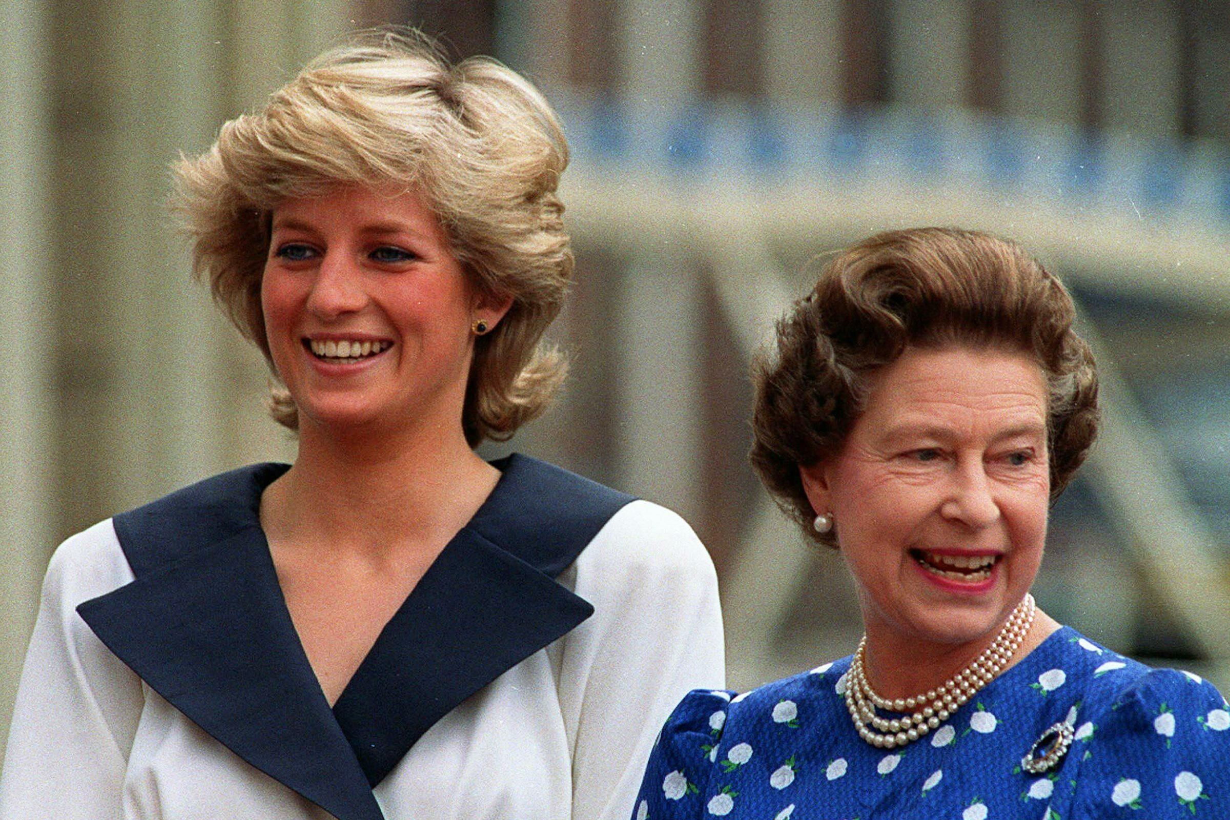 Diana and the Queen snapped in good spirits.