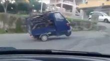 Watch hilarious moment an Italian Tuk Tuk fails to climb a hill