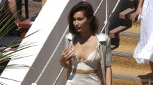 Bella Hadid dons silky boudoir-style ensemble in France