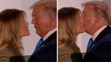 Melania 'dodges' President Trump's kiss in live cross