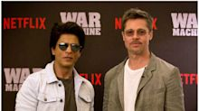 War Machine promotions: Brad Pitt and Shah Rukh Khan pose together in Mumbai