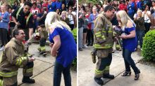 Fireman proposes to teacher during 'best fire drill ever' at school