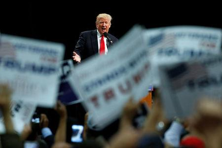 Republican U.S. presidential candidate Donald Trump holds a rally with supporters in San Diego
