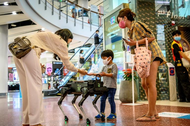 Don't be afraid: K9 doesn't bite, he distributes hand sanitiser to visitors in a shopping mall in Bangkok (AFP Photo/Mladen ANTONOV)
