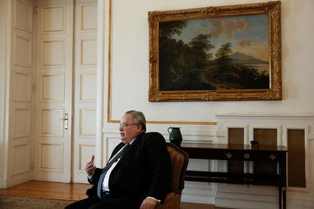 Greek Foreign Minister Nikos Kotzias speaks during an interview with Reuters at the Foreign Ministry in Athens, Greece, January 31, 2018. REUTERS/Costas Baltas
