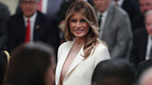 Melania Trump wears chic white Dior suit to Medal of Freedom ceremony