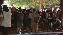 Protesters gather outside White House Saturday night
