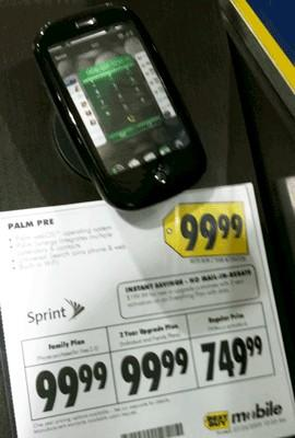 """Palm Pre drops to $99 at Best Buy (update: """"error is being corrected,"""" says Best Buy)"""