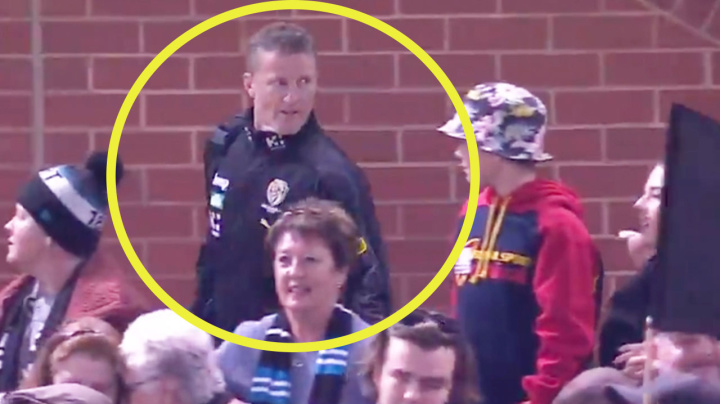 'That's harsh': AFL coach sledges fan after being 'confronted'