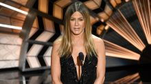 Jennifer Aniston Rocks Super High Slit Dress at the Oscars That Has Some Comparing Her to Angelina Jolie: Pics