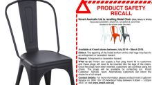 Kmart chair recalled due to 'entrapment and laceration hazard'