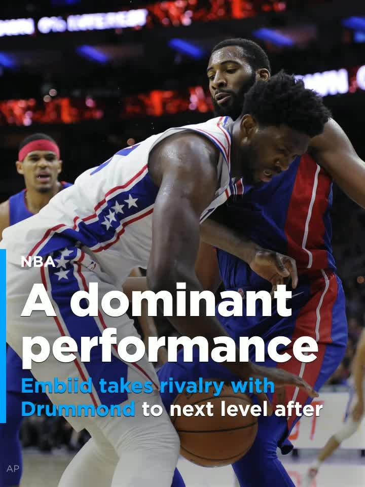 bae6f70f50e Joel Embiid puts on a show in dominant win over rival Andre Drummond and  Pistons  Video