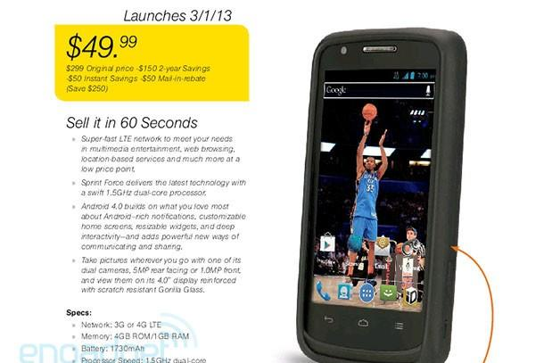 Sprint Force LTE handset leaks, due March 1st from ZTE