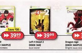 PSA: Futureshop slashing prices on Dragon Age, Left 4 Dead 2, NFS: Shift
