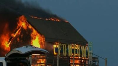 Raw: Fire Rages Along NJ Boardwalk