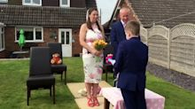 Couple forced to cancel dream wedding due to coronavirus tie the knot after kids hold surprise garden ceremony